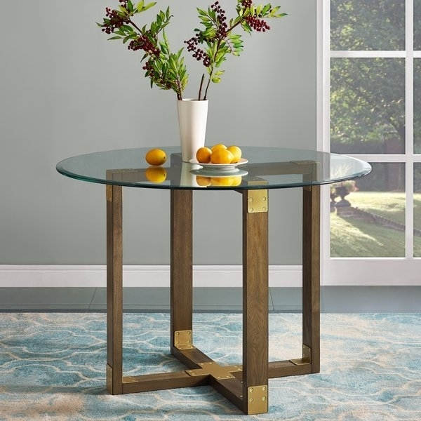 Shop Avenue Greene Scarlett Rustic Oak Glass Top Dining Table – Free Intended For Oak Glass Top Dining Tables (Image 22 of 25)