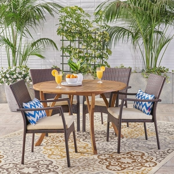 Shop Baldwin Outdoor 5 Piece Acacia Wood And Wicker Dining Set For Laurent 5 Piece Round Dining Sets With Wood Chairs (View 7 of 25)