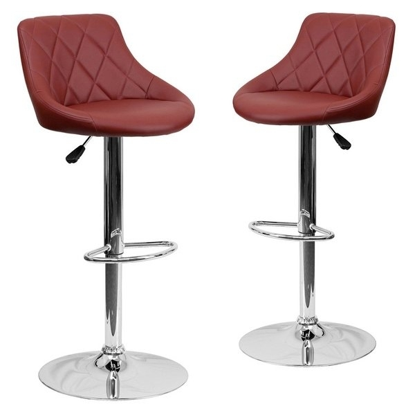 Shop Belleze 2 Pc Bucket Style Seat Adjustable Bar Stool Footrest With Regard To Valencia 5 Piece Counter Sets With Counterstool (View 25 of 25)