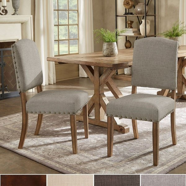 Shop Benchwright Premium Nailhead Upholstered Dining Chairs (Set Of With Regard To Candice Ii 5 Piece Round Dining Sets With Slat Back Side Chairs (Image 25 of 25)
