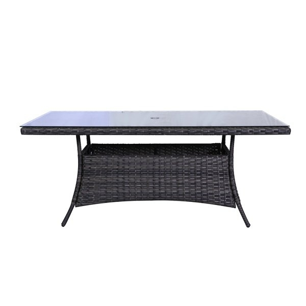 Shop Bora Bora Wicker Rattan Glass Top Dining Table – Free Shipping Throughout Wicker And Glass Dining Tables (Image 15 of 25)