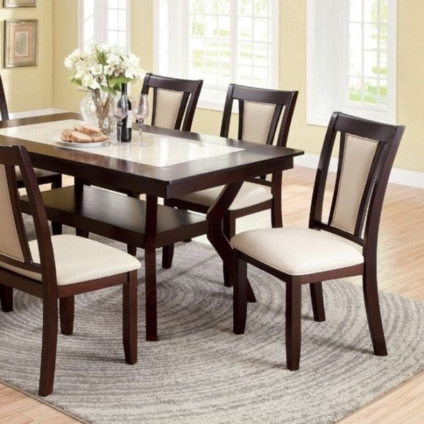 Shop Brent Two Color Dining Table, Dark Cherry & Ivory Finish – On Inside Ivory Painted Dining Tables (View 5 of 25)