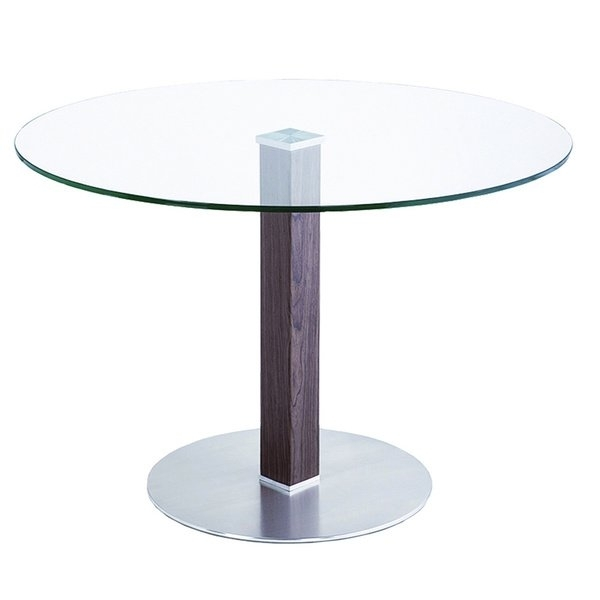 Shop Cafe Brushed Stainless Steel Dining Table With Clear Glass Inside Brushed Steel Dining Tables (View 20 of 25)