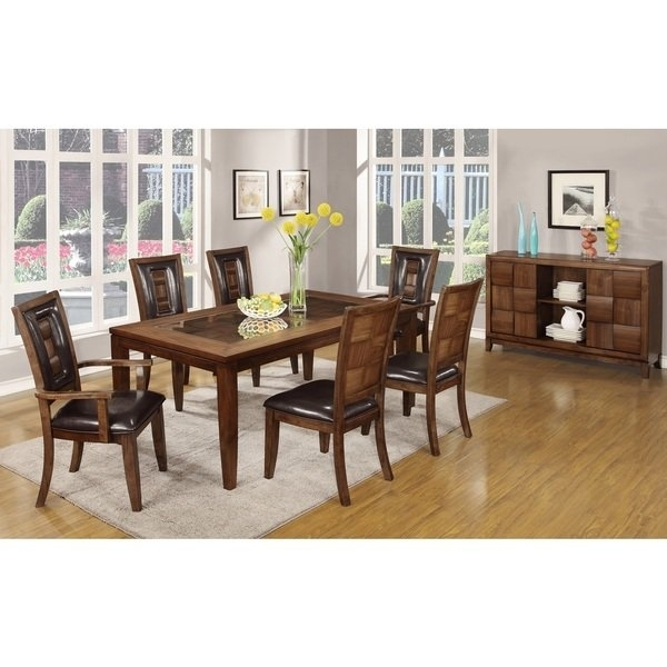 Shop Calais 7 Piece Parquet Finish Solid Wood Dining Table With 6 Within Parquet 7 Piece Dining Sets (Image 22 of 25)