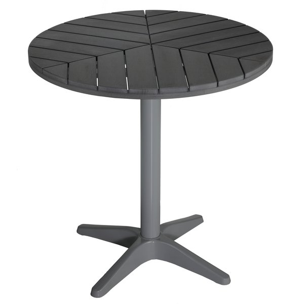 Shop Carbon Loft Wallis Silver/ Slate Grey Poly Wood Round Aluminum Intended For Jaxon Grey 7 Piece Rectangle Extension Dining Sets With Uph Chairs (Image 21 of 25)