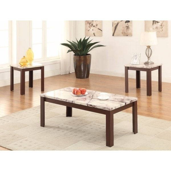 Shop Carly Coffee/end Table Set, Faux Marble & Cherry, Pack Of 3 For Carly Rectangle Dining Tables (Image 22 of 25)
