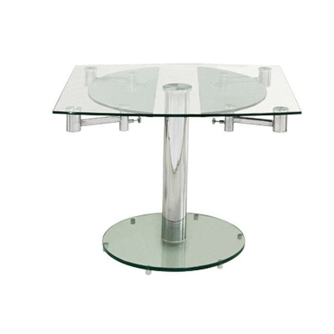 Shop Casabianca Home Thao Collection Small Glass Extendable Dining For Glass Folding Dining Tables (Image 22 of 25)