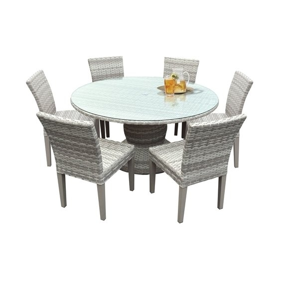 Shop Catamaran Outdoor Patio Round Wicker Dining Table With Glass Throughout Wicker And Glass Dining Tables (Image 16 of 25)