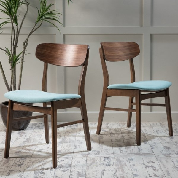 Shop Christopher Knight Fabric Upholstered Wood Dining Chairs (Set Within Caden 6 Piece Dining Sets With Upholstered Side Chair (View 11 of 25)