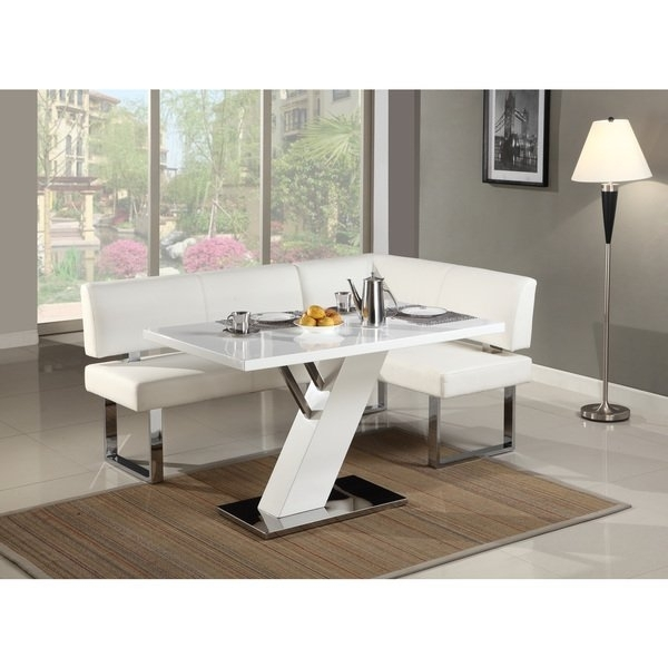 Shop Christopher Knight Home Leah Gloss White/chrome Dining Table Within Chrome Dining Room Sets (View 25 of 25)
