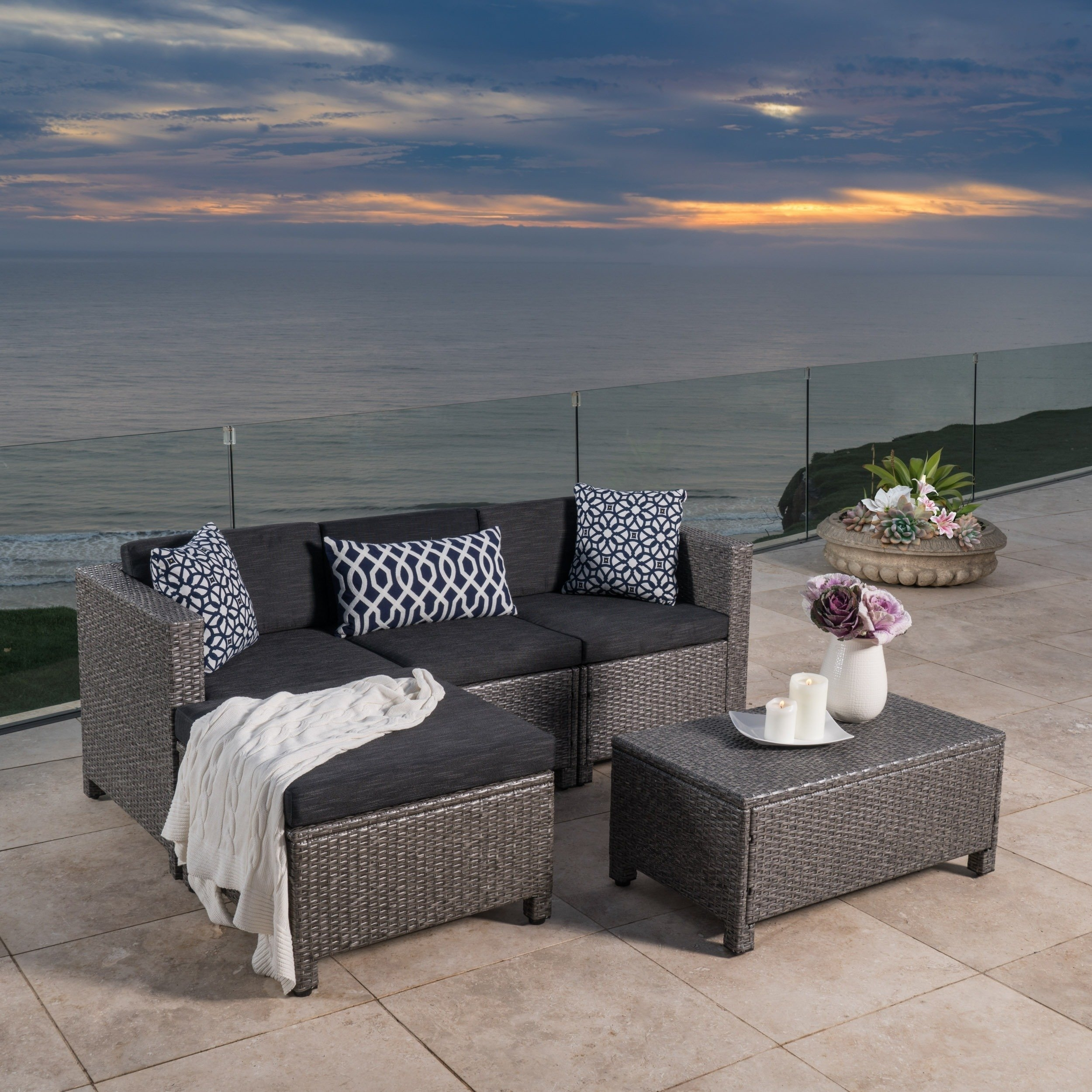 Shop Christopher Knight Home Outdoor Puerta 5 Piece Wicker Sectional Throughout Norfolk Grey 6 Piece Sectionals (Image 21 of 25)