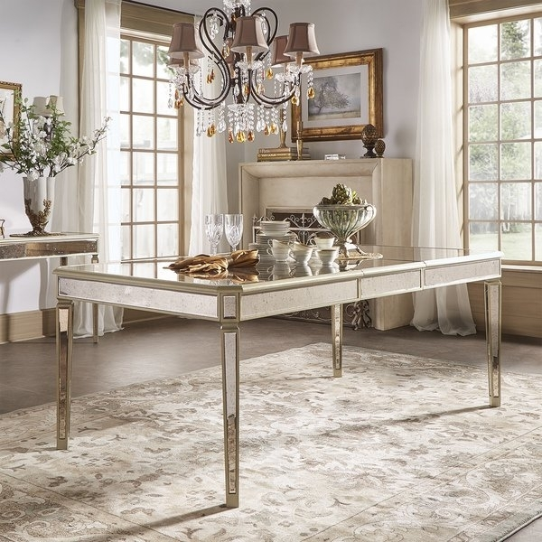 Shop Clara Antique Gold Mirrored Extending Dining Tableinspire Q Throughout Antique Mirror Dining Tables (View 10 of 25)