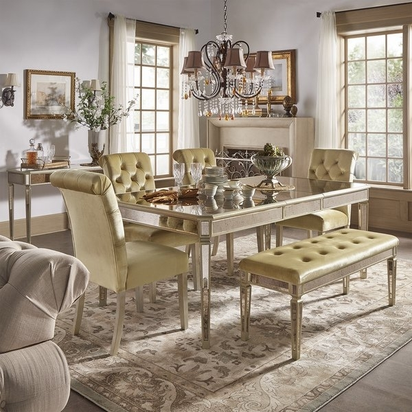 Shop Clara Gold Velvet And Antique Gold Mirrored Dining Set Within Antique Mirror Dining Tables (View 11 of 25)