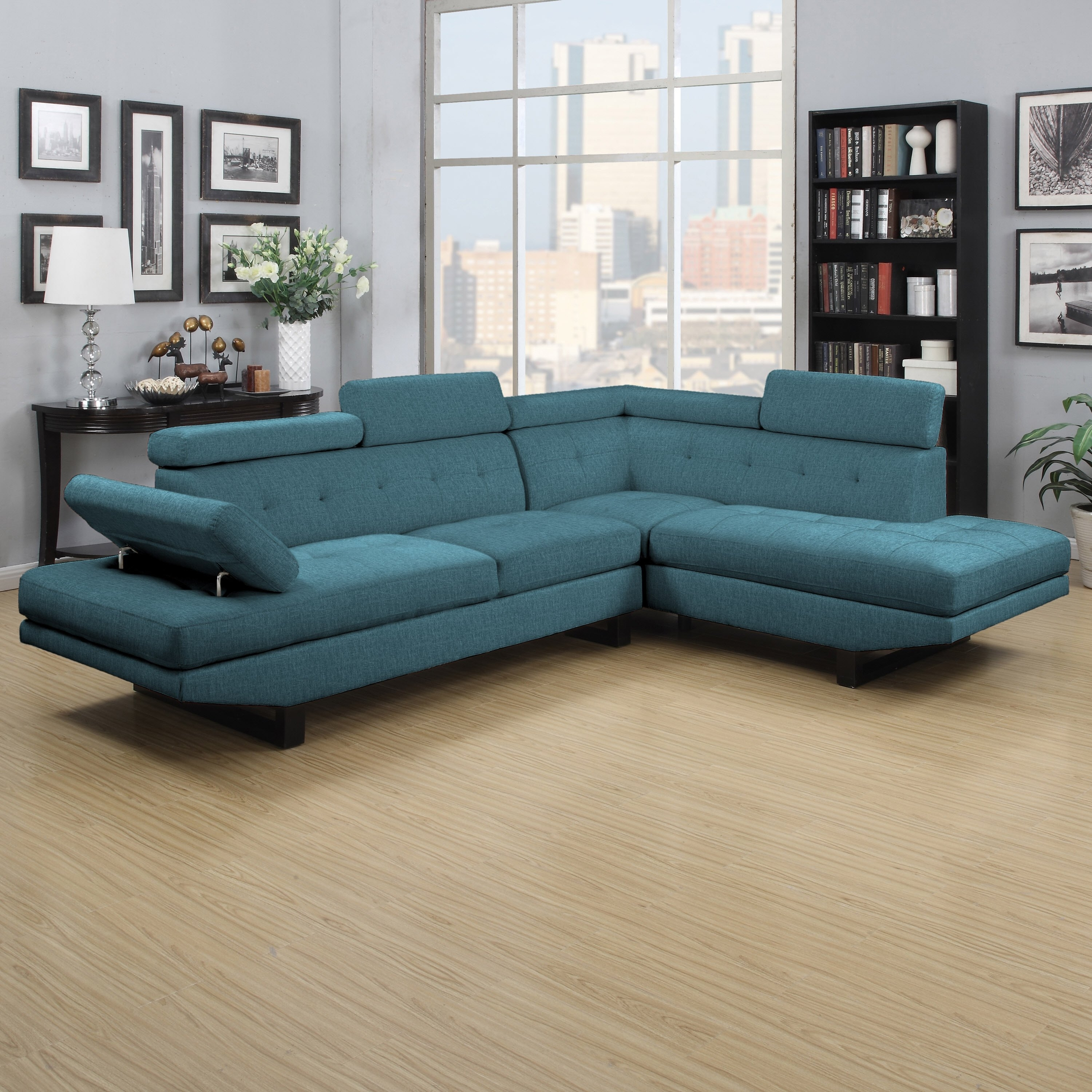 Shop Clay Alder Home Pope Street Caribbean Blue Linen 2 Piece Within Alder 4 Piece Sectionals (Image 23 of 25)