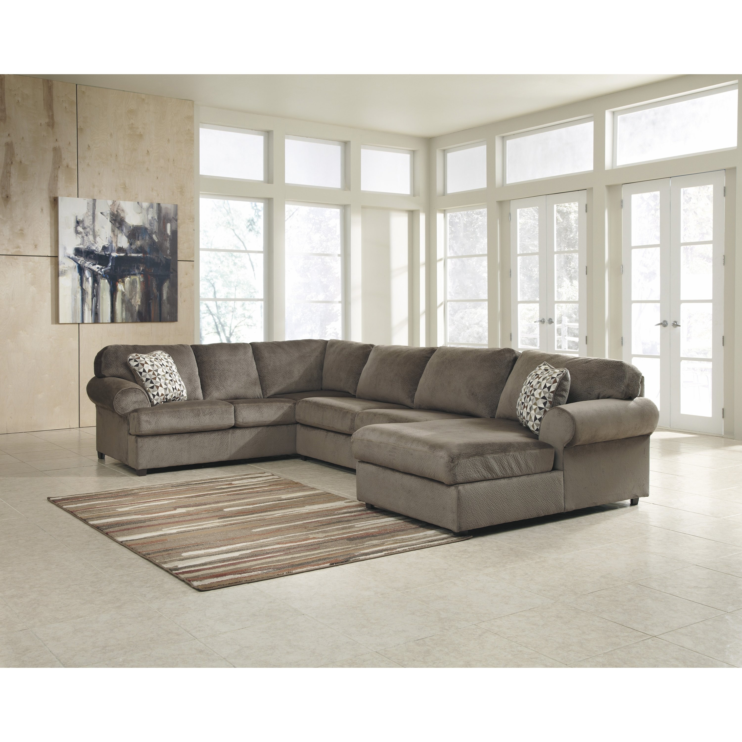 Shop Clay Alder Home Wells Oversized Fabric Sectional Sofa – Free Intended For Alder 4 Piece Sectionals (Image 25 of 25)