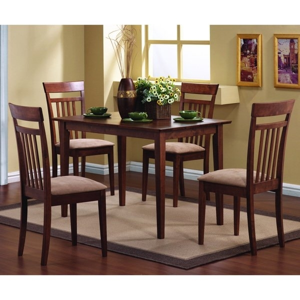 Shop Copper Grove Crychan Warm Walnut 5 Piece Dining Set – Free In Caden 5 Piece Round Dining Sets With Upholstered Side Chairs (View 20 of 25)