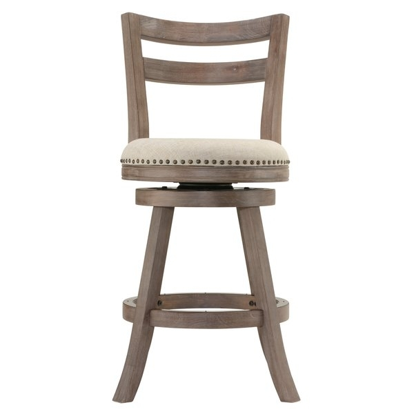 Shop Cortesi Home Harper Beige Fabric Swivel Seat Counter Stool With With Regard To Harper 5 Piece Counter Sets (Image 15 of 25)