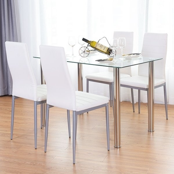 Shop Costway 5 Piece Dining Set Table And 4 Chairs Glass Metal Inside Harper 5 Piece Counter Sets (View 18 of 25)