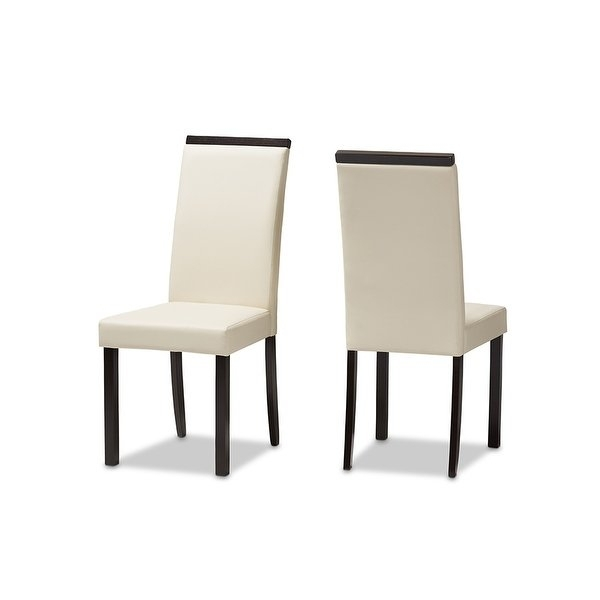 Shop Daveney Cream Faux Leather Upholstered Dining Chair – 2Pcs For Cream Faux Leather Dining Chairs (Image 23 of 25)