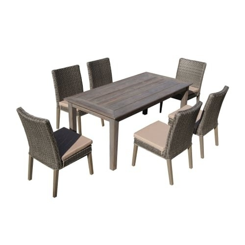 Shop Delacora Df 6114 Bas 7 Piece Outdoor Dining Set With Intended For Cora 7 Piece Dining Sets (View 2 of 25)