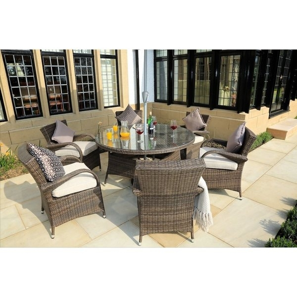 Shop Direct Wicker Eton Chair 7 Piece Rattan Dining Set – Free Within Valencia 72 Inch 7 Piece Dining Sets (Image 19 of 25)