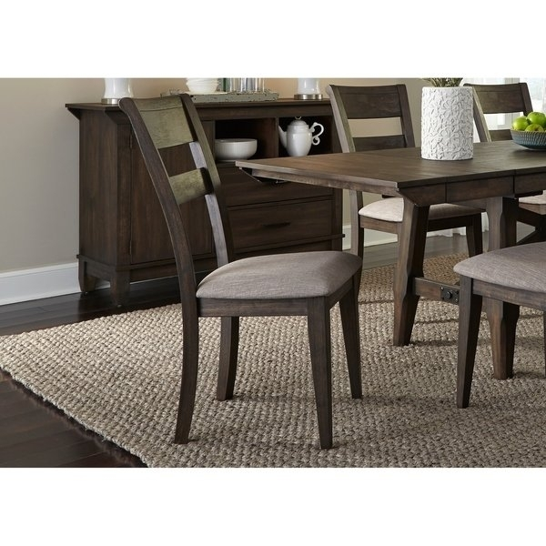 Shop Double Bridge Dark Chestnut Splat Back Side Chair – Free With Regard To Caira Black 7 Piece Dining Sets With Upholstered Side Chairs (Image 21 of 25)