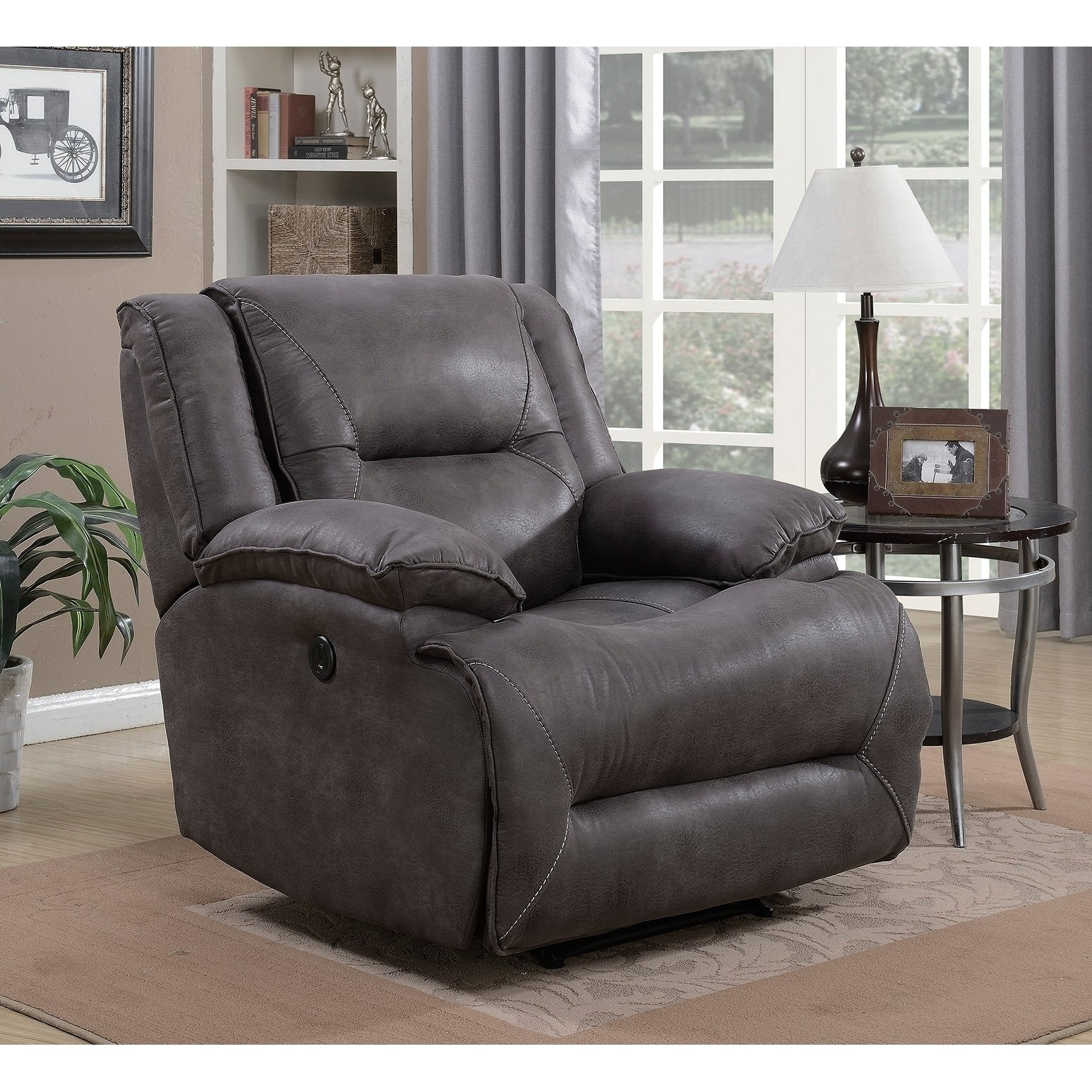 Shop Dylan Power Recliner With Memory Foam Seat Topper And Usb In Travis Dk Grey Leather 6 Piece Power Reclining Sectionals With Power Headrest & Usb (Image 20 of 25)