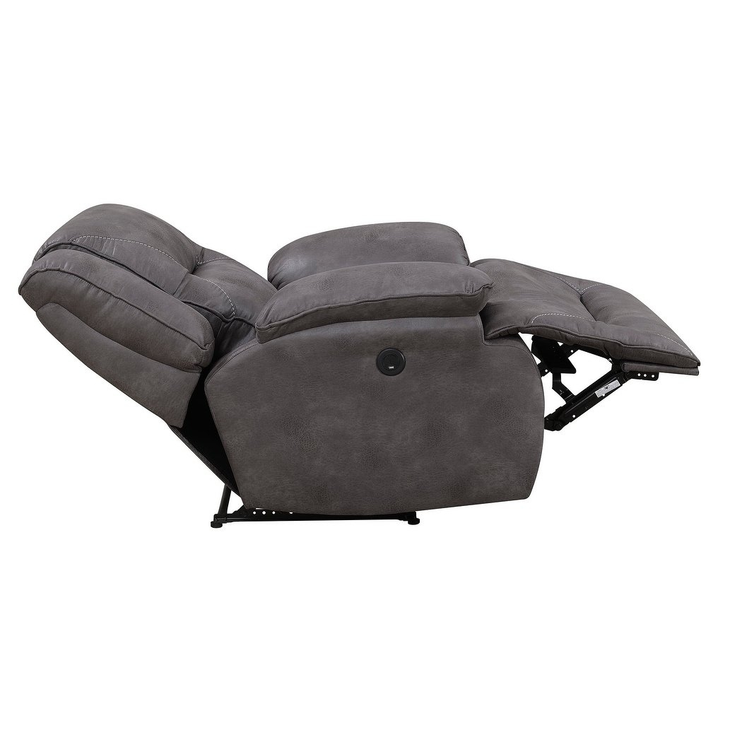 Shop Dylan Power Recliner With Memory Foam Seat Topper And Usb In Travis Dk Grey Leather 6 Piece Power Reclining Sectionals With Power Headrest & Usb (Image 19 of 25)