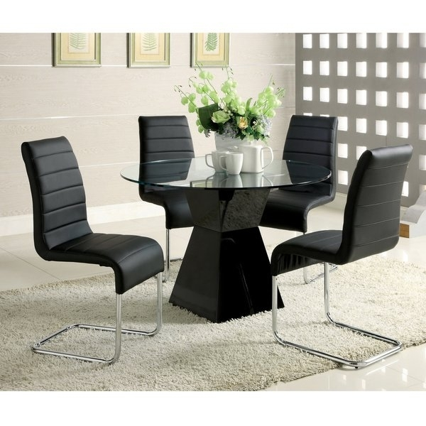 Shop Furniture Of America 'athena' 5 Piece High Gloss Dining Set Within Gloss Dining Tables Sets (Image 20 of 25)