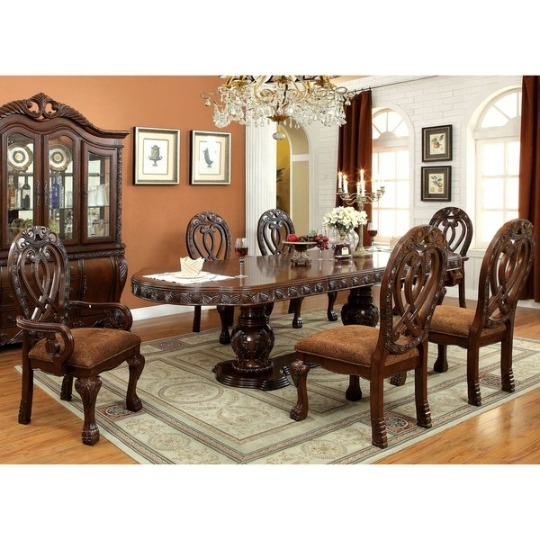 Shop Furniture Of America Beaufort Formal 7 Piece Dining Set – Free Intended For Craftsman 7 Piece Rectangular Extension Dining Sets With Arm & Uph Side Chairs (Image 20 of 25)