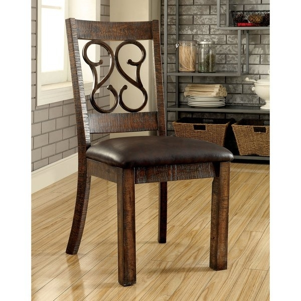 Shop Furniture Of America Chester Traditional Scrolled Metal In Chester Dining Chairs (Image 22 of 25)