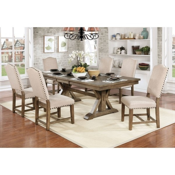 Shop Furniture Of America Cooper Rustic Light Oak Finish Wood With 87 Inch Dining Tables (Image 20 of 25)