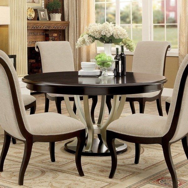 Shop Furniture Of America Daphne Round Pedestal Espresso/champagne Intended For Pedestal Dining Tables And Chairs (Image 24 of 25)