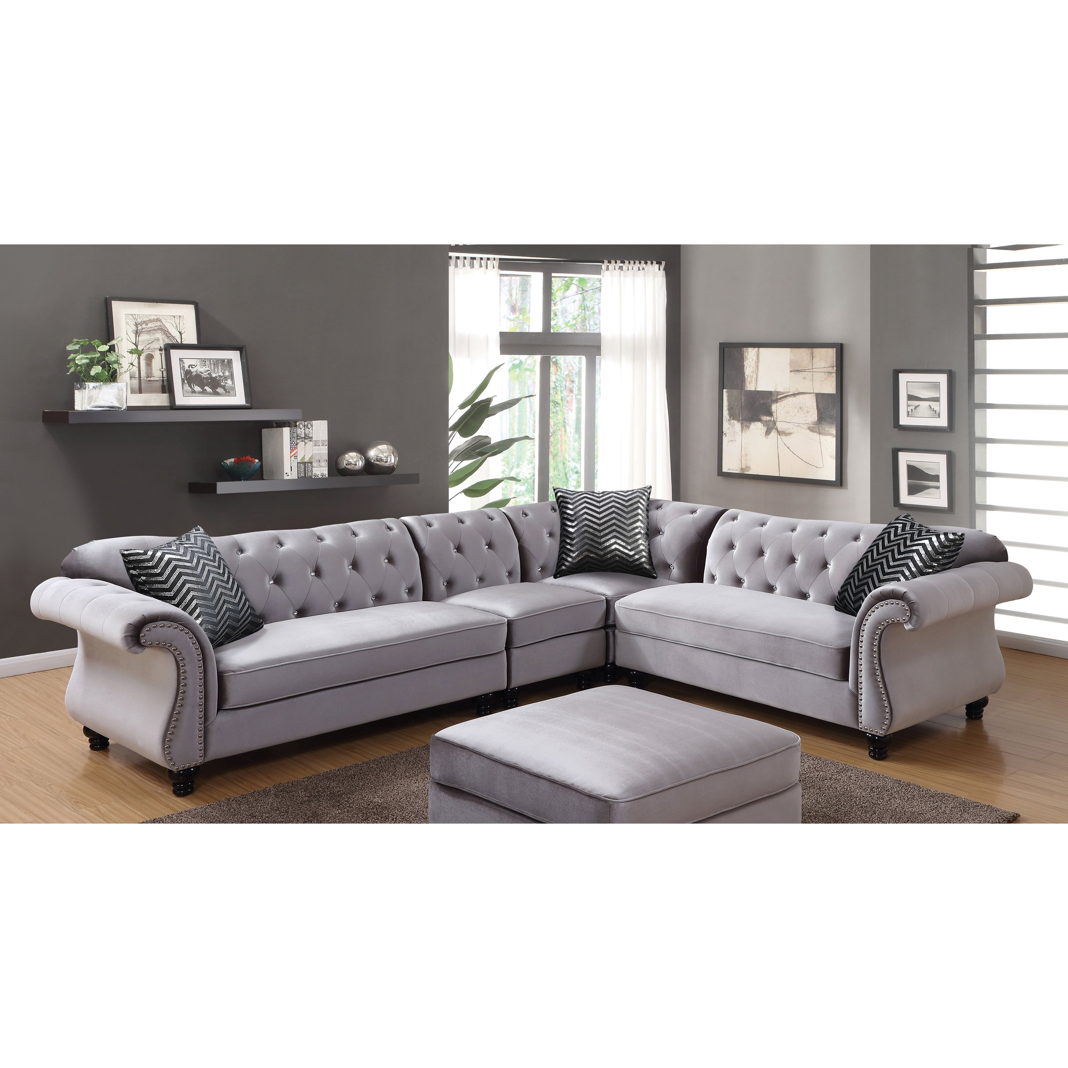 Shop Furniture Of America Dessie Iii Traditional Glam Tufted Intended For Glamour Ii 3 Piece Sectionals (View 9 of 25)