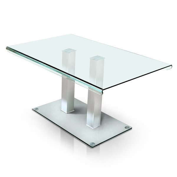 Shop Furniture Of America Ezreal Silver Finish Tempered Glass And In Ina Matte Black 60 Inch Counter Tables With Frosted Glass (Image 24 of 25)