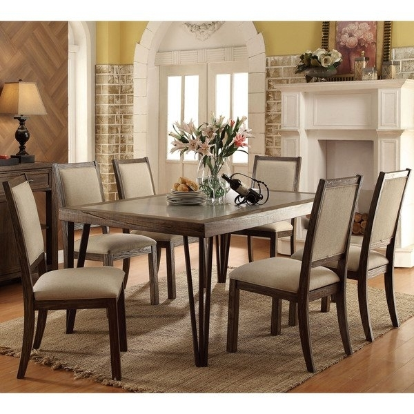 Shop Furniture Of America Hailey Rustic 7 Piece Weathered Elm Dining Inside Natural Wood & Recycled Elm 87 Inch Dining Tables (Image 22 of 25)