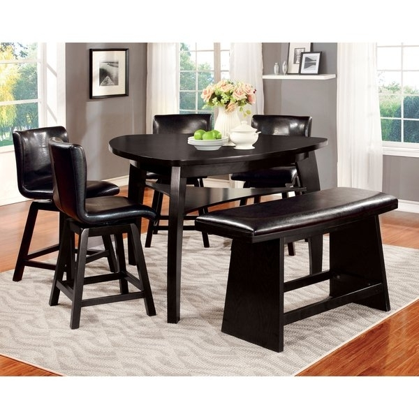 Shop Furniture Of America Karille Modern Black Counter Height Dining With Regard To Black Wood Dining Tables Sets (Image 24 of 25)
