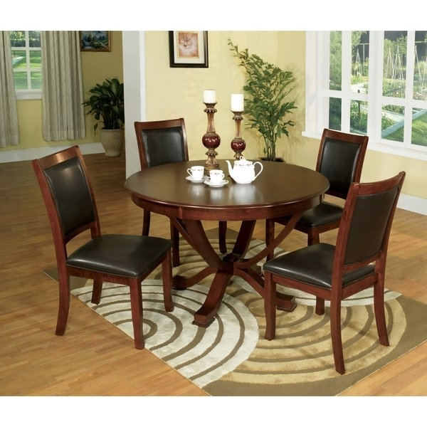 Shop Furniture Of America Kristen 5 Piece Brown Cherry Dining Set Intended For Kirsten 5 Piece Dining Sets (Image 24 of 25)