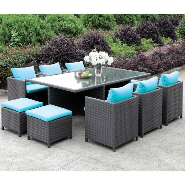 Shop Furniture Of America Lani Contemporary 11 Piece Turquoise/light In Delfina 7 Piece Dining Sets (Image 23 of 25)