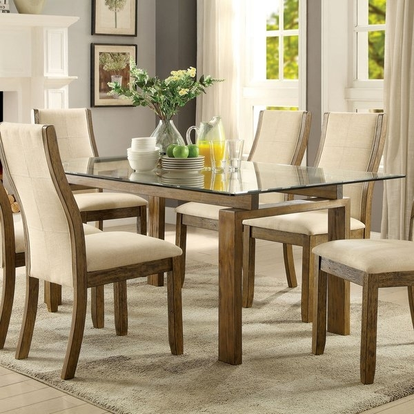 Shop Furniture Of America Lenea Contemporary Glass Top Oak Dining Inside Glass And Oak Dining Tables And Chairs (Image 21 of 25)