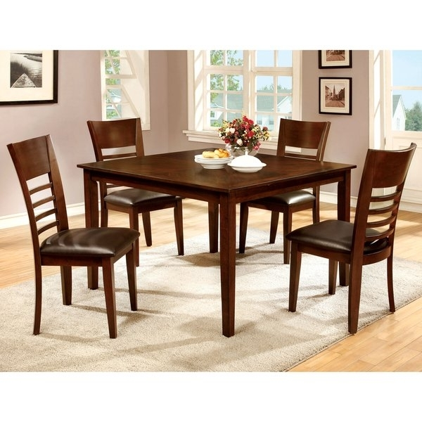 Shop Furniture Of America Leonard Iii 5 Piece Brown Cherry Dining Regarding Harper 5 Piece Counter Sets (View 11 of 25)