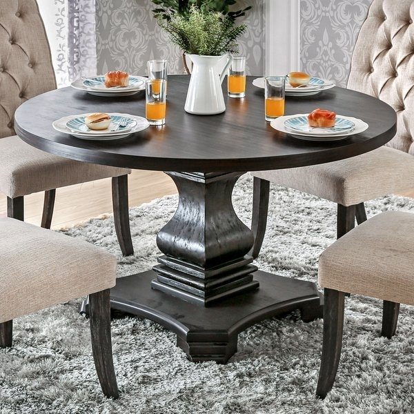 Shop Furniture Of America Lucena Antique Black Wood Traditional Throughout Dark Round Dining Tables (Image 23 of 25)