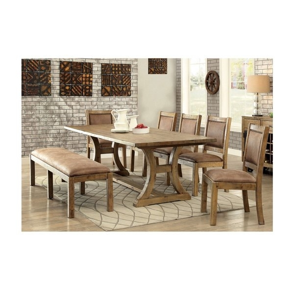 Shop Furniture Of America Matthias Industrial 6 Piece Rustic Pine Inside Cora 5 Piece Dining Sets (Image 16 of 25)