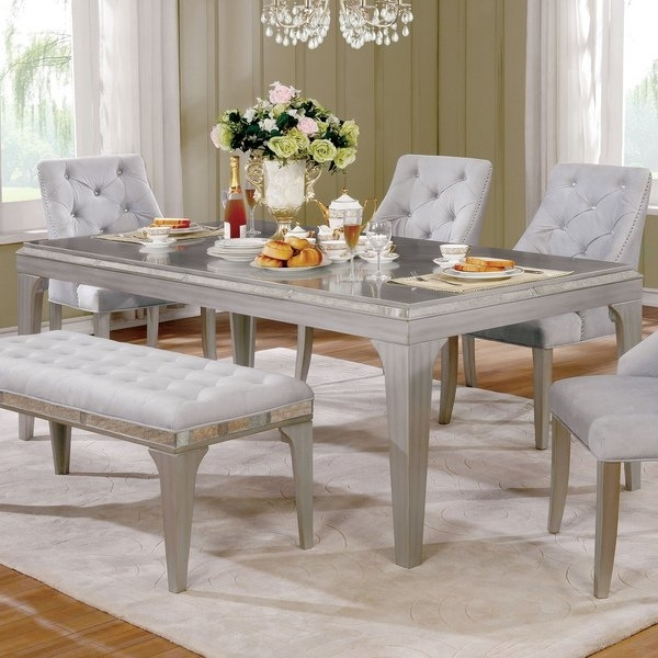 Shop Furniture Of America Selano Contemporary Mirrored Silver 84 Intended For Mirrored Dining Tables (Image 17 of 25)
