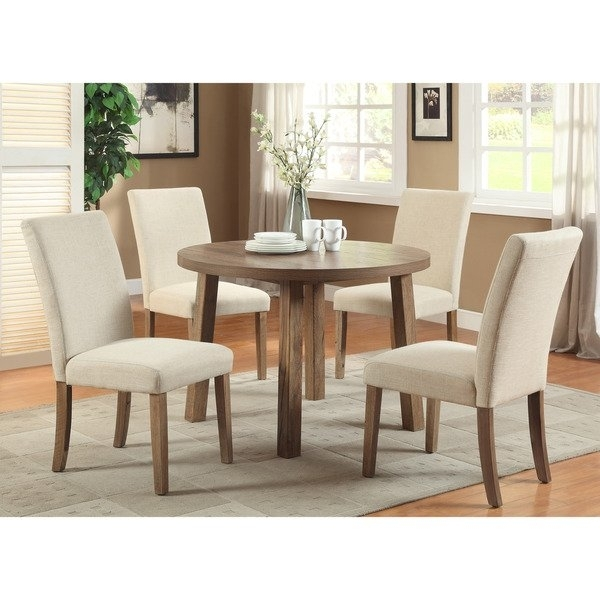 Shop Furniture Of America Seline Round Weathered Elm Dining Table Intended For Natural Wood & Recycled Elm 87 Inch Dining Tables (Image 23 of 25)