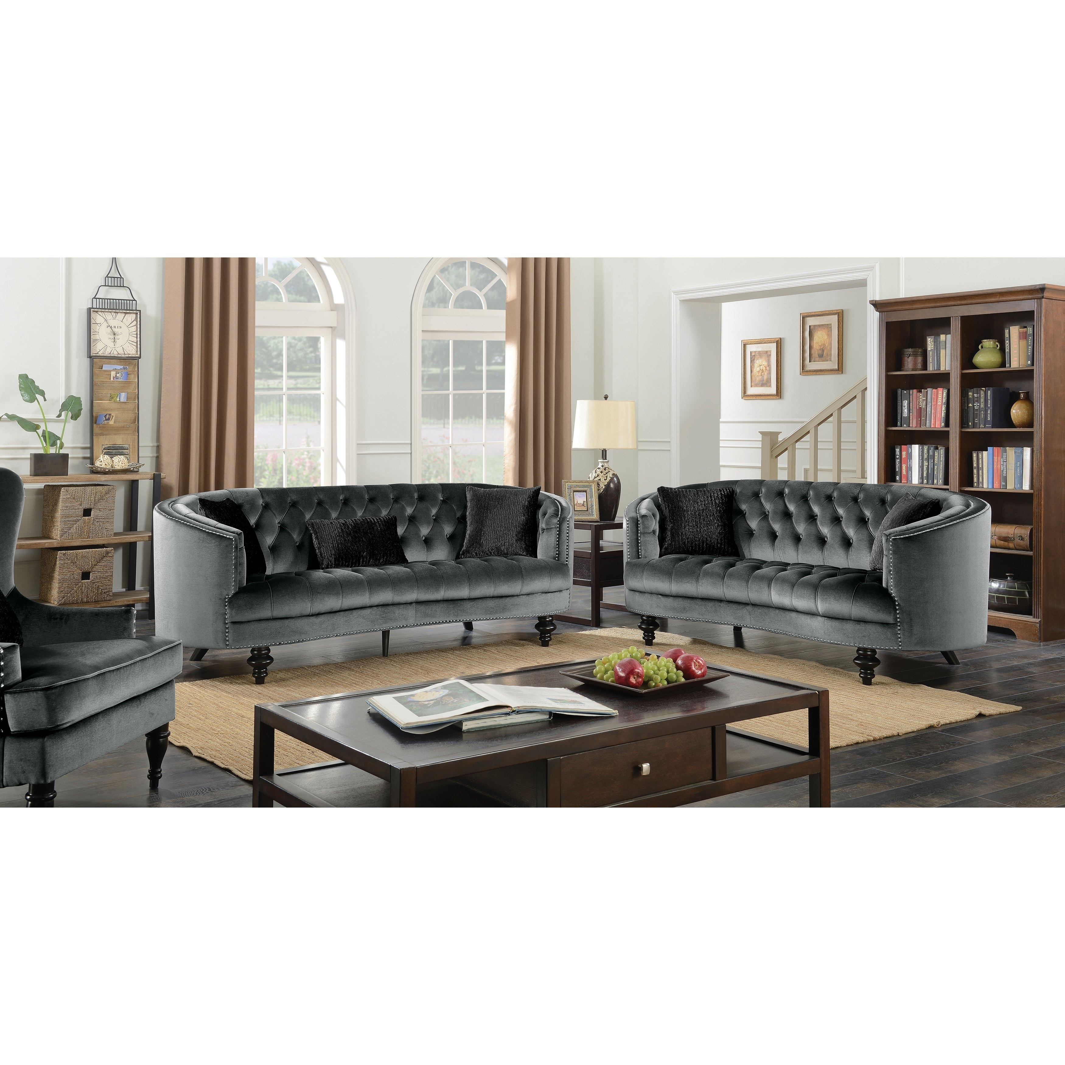 Shop Furniture Of America Sevi Glam 3 Piece Tufted Flannelette Sofa Pertaining To Glamour Ii 3 Piece Sectionals (View 22 of 25)