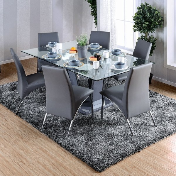 Shop Furniture Of America Ziana Contemporary Rectangular Tempered Inside Glass Dining Tables (Image 18 of 25)