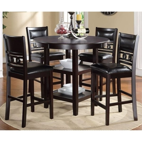Shop Gia Ebony Counter Height Round Table 5 Piece Dining Set – Free For Harper 5 Piece Counter Sets (View 7 of 25)