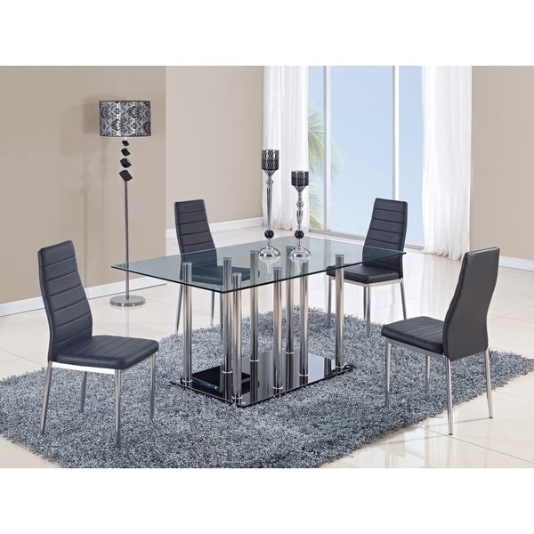 Shop Global Furniture Clear Glass And Chrome Stainless Steel Dining Pertaining To Glass And Stainless Steel Dining Tables (Image 21 of 25)