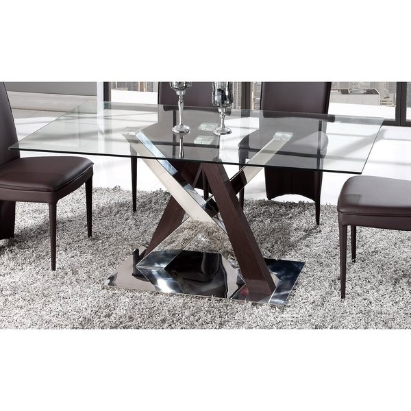 Shop Global Furniture Wenge Mdf, Chrome, And Glass Dining Table Regarding Chrome Glass Dining Tables (View 16 of 25)